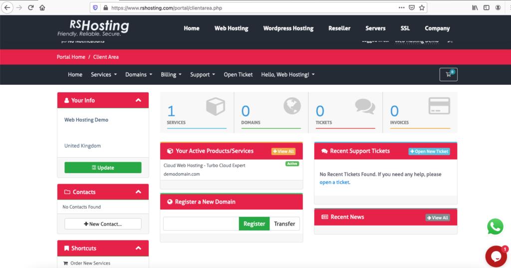RShosting Client Portal