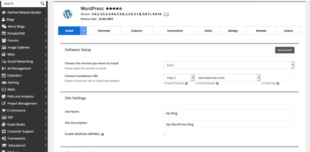 How to install WordPress from cPanel?