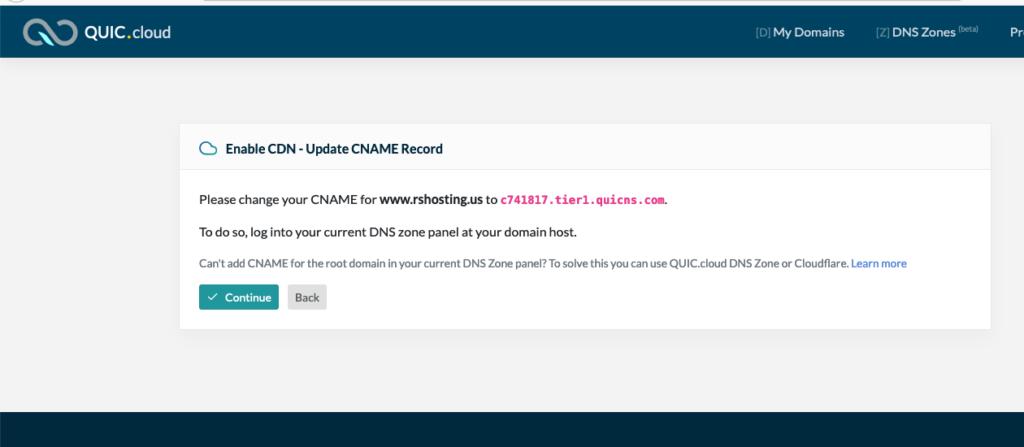 Quic.cloud CDN CNAME