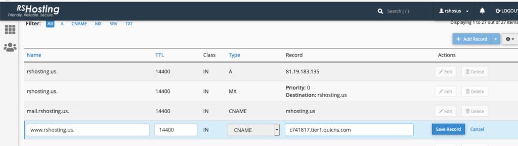 Quic.cloud cdn hostname cpanel zone editor